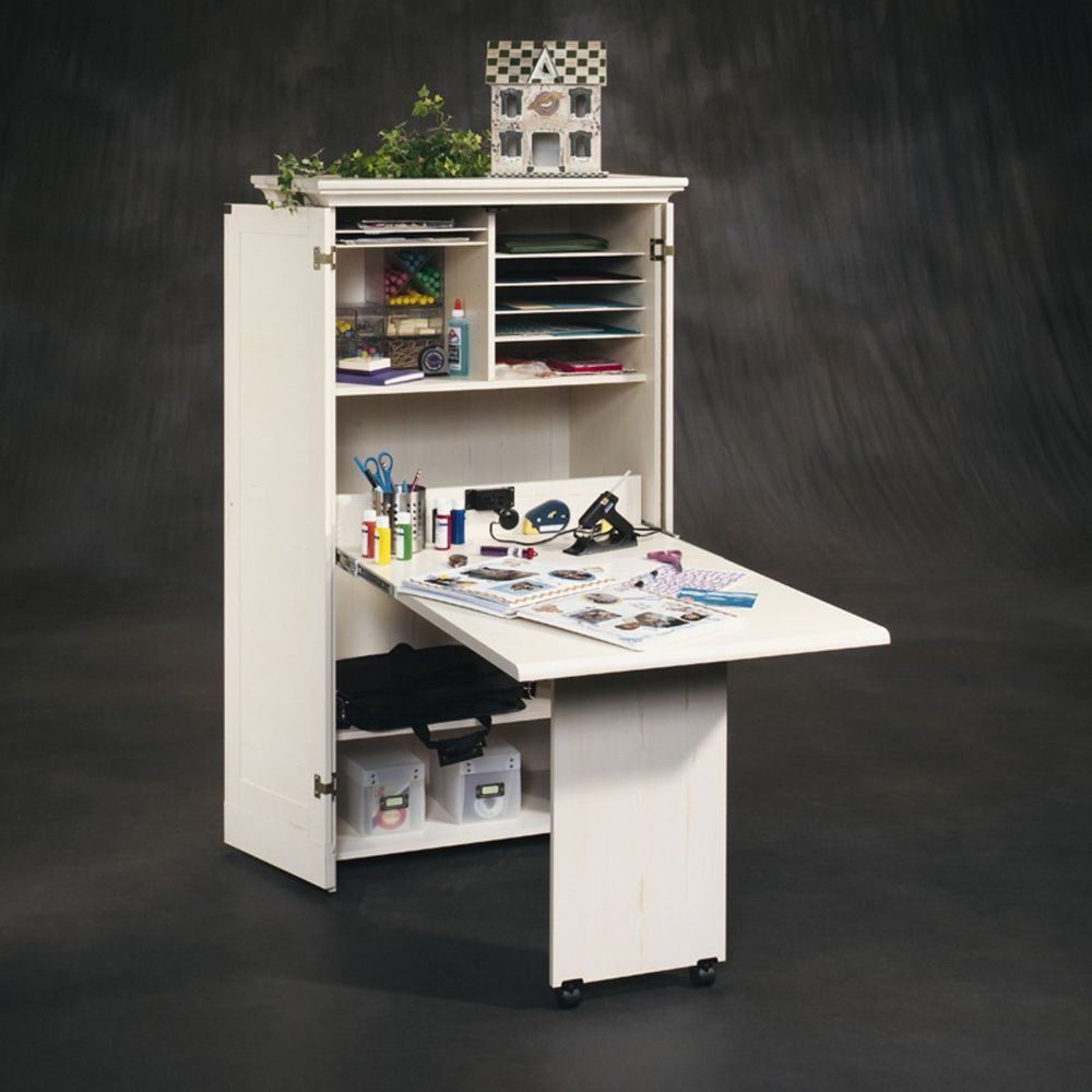 Craft Table Cabinet Armoire Storage Furniture Folding Sewing
