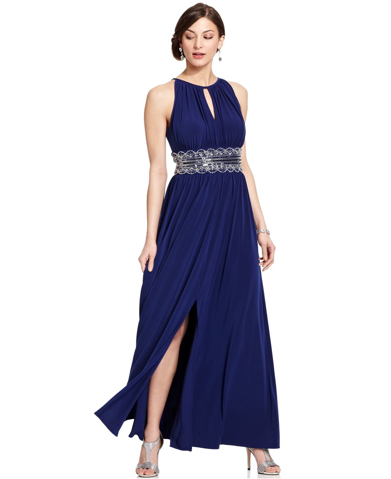 212ee427e1 R M Richards Petite Sleeveless Beaded Gown - Dresses - Women - Macy s