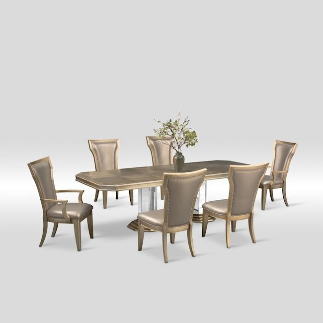 value city dining table and chairs mechanical sex chair angelina double pedestal two arm 4 side metallic furniture mattresses