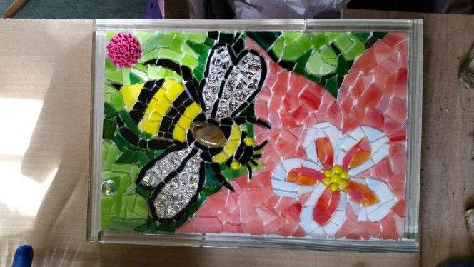Honey bee mosaic,  pre-grout  #PrancyBearStudio