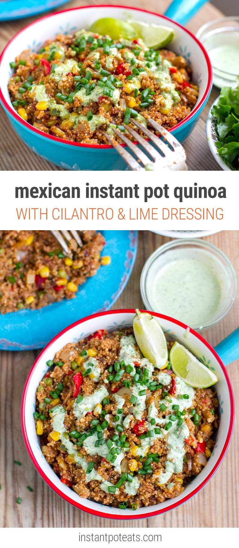 Mexican Instant Pot Quinoa With Cilantro Sauce