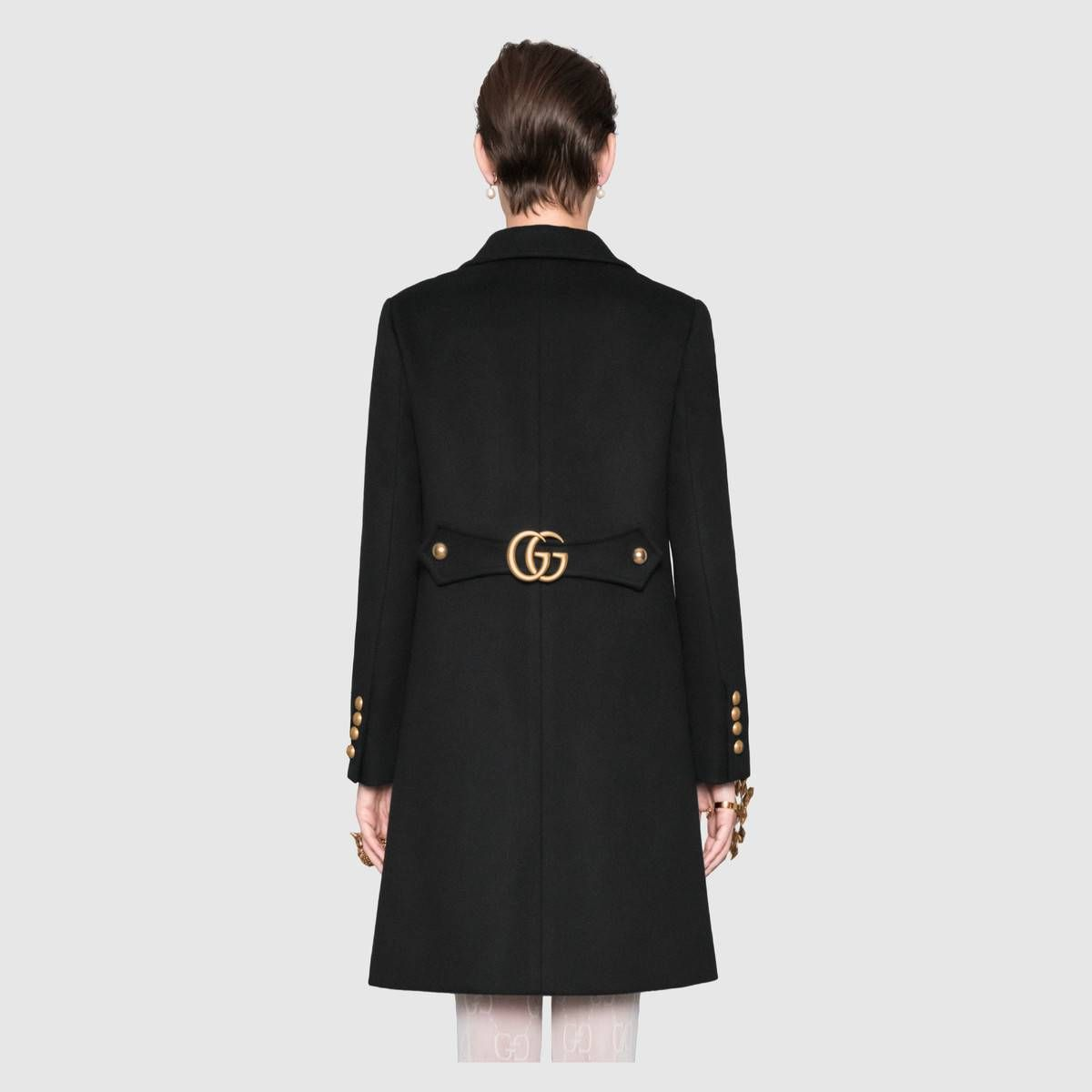 3484a202205 Wool coat with Double G in Black wool