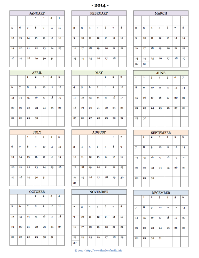 free printable calendars for 2014 monthly pages year at a glance