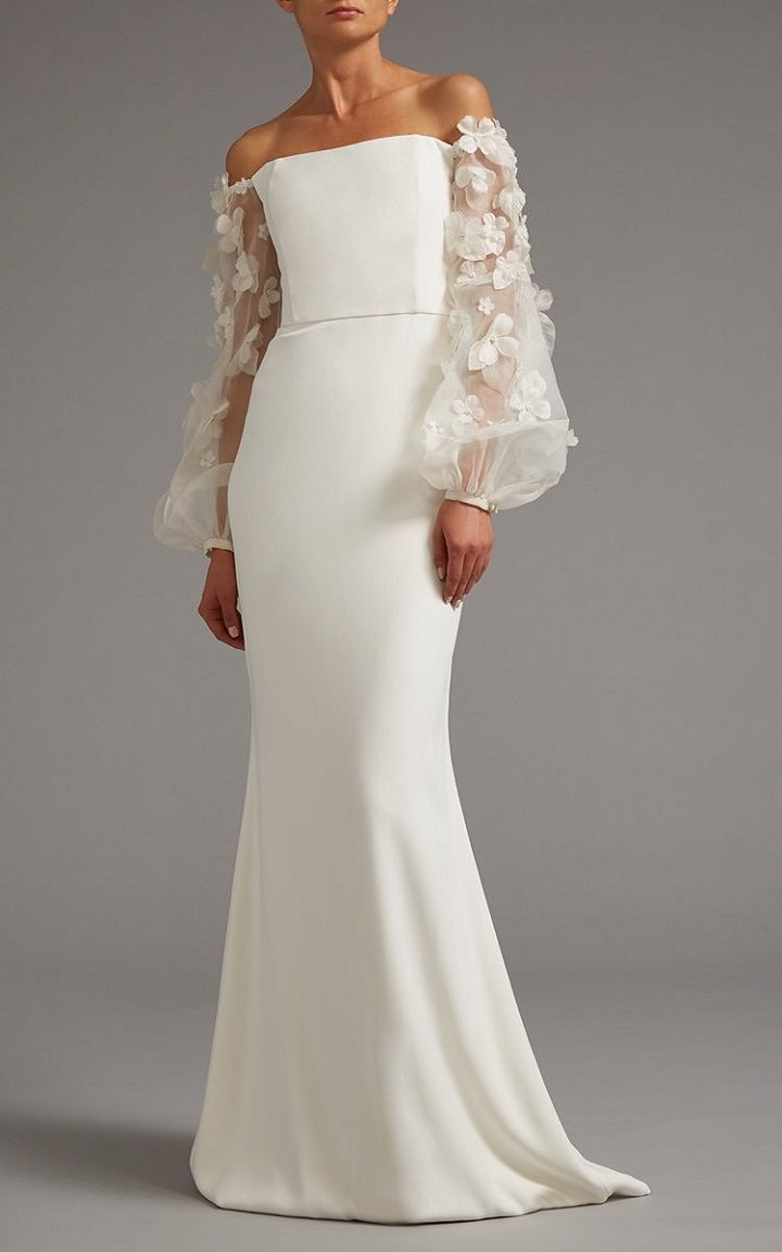 Off The Shoulder Gown With Sheer Embroidered Sleeves | itakeyou.co.uk #bridaldress #weddingdress #weddinggown #wedding #offtheshoulder