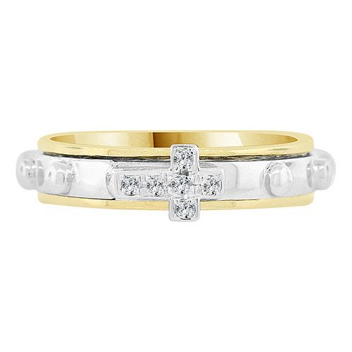 Ring in cross-linked sterling silver and yellow gold