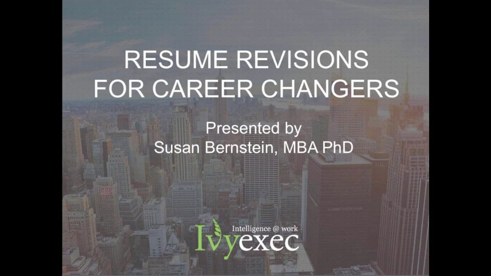 WEBINAR Resume Revision for Career Changers MIT Alumni Career