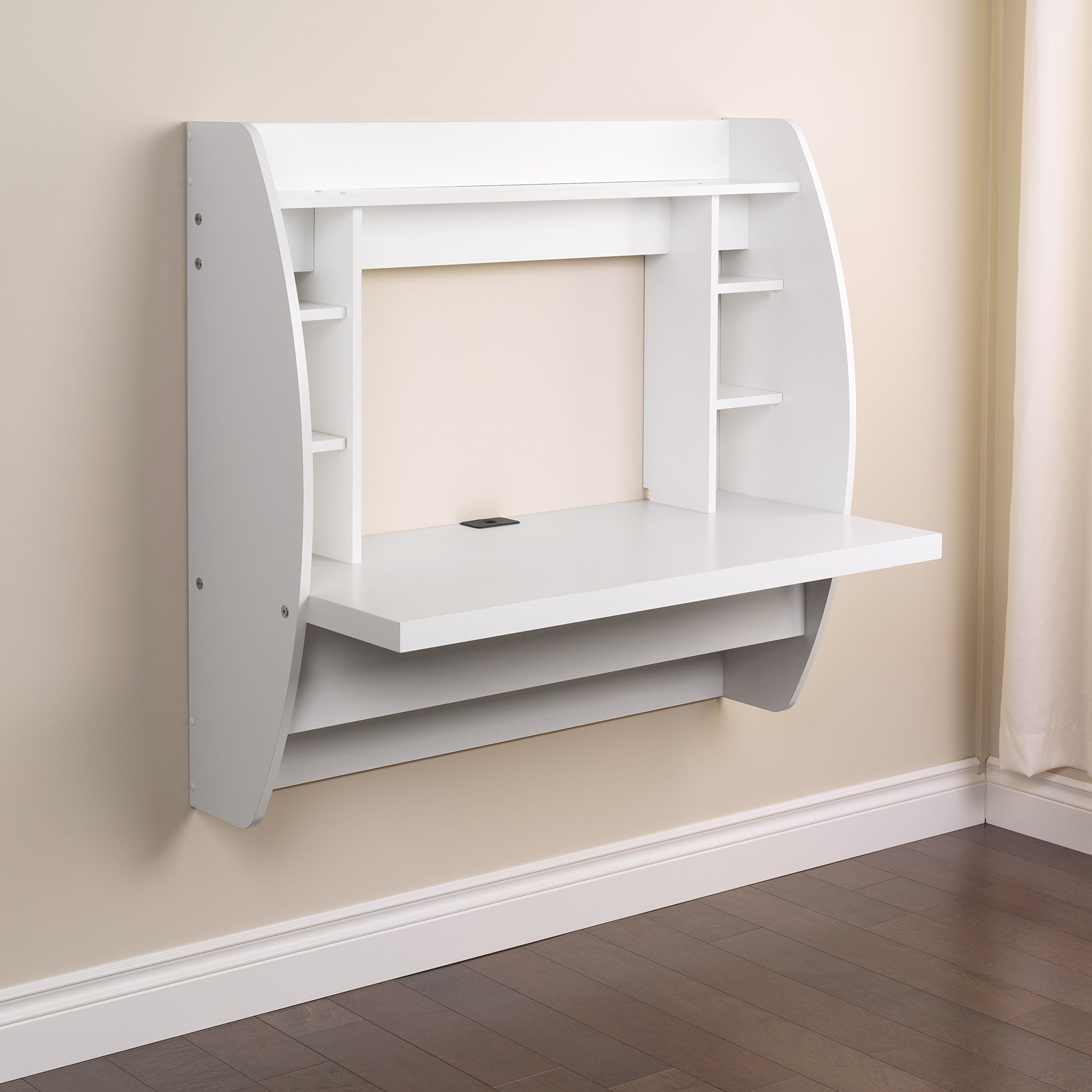 Prepac Wall Mounted Floating Desk With Storage In White Floating Desk White Floating Desk Desk Storage