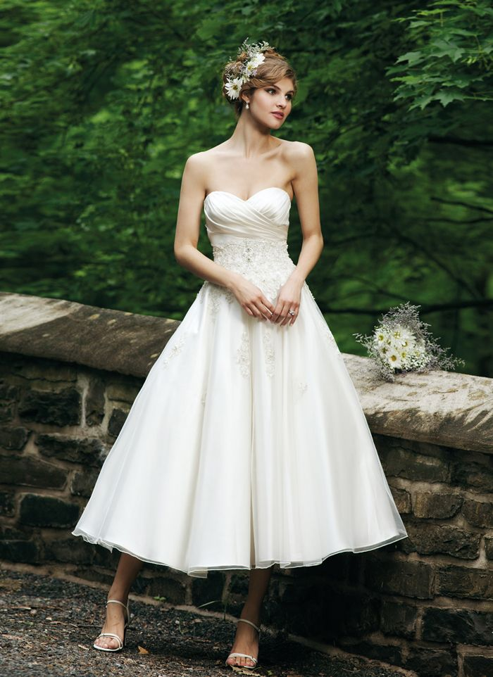 A Line Taffeta Strapless Zipper Tea Length Wedding Dresses With Embroidery Gowns Bridal