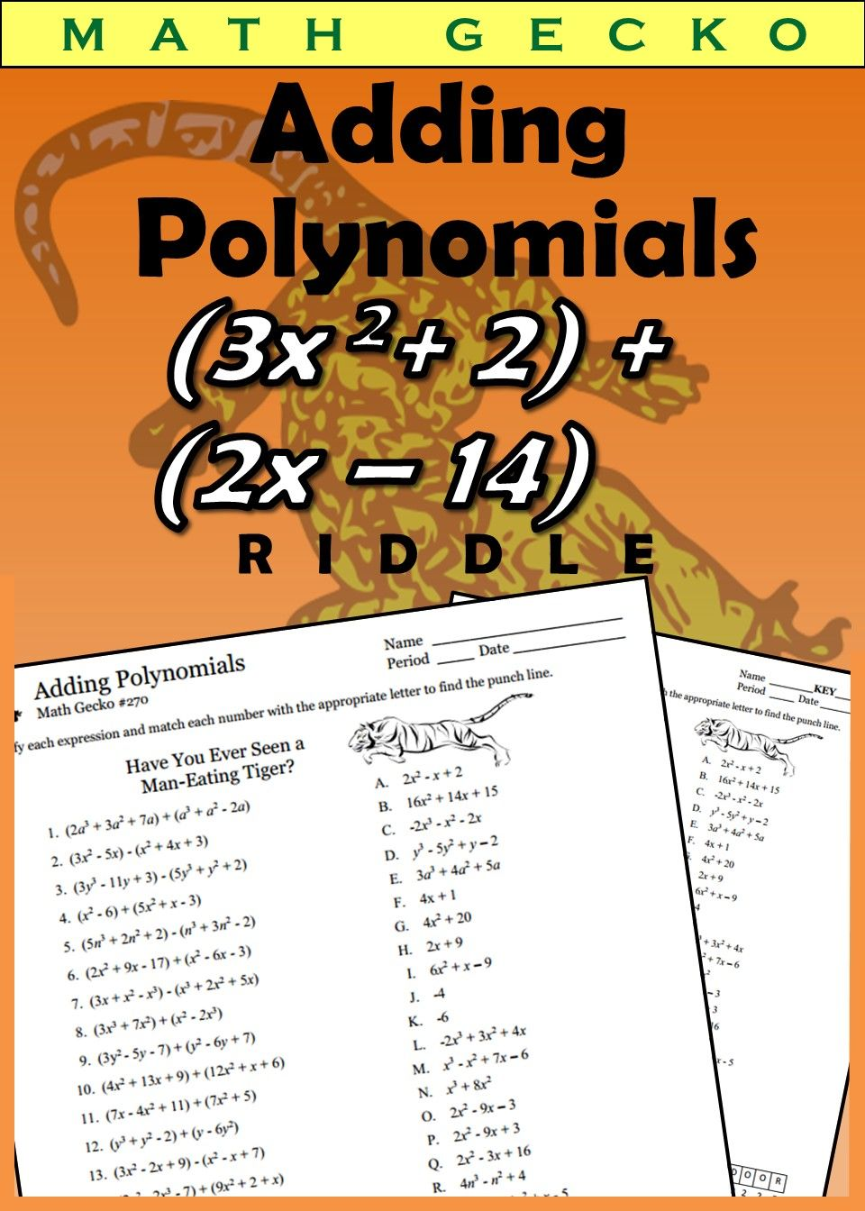 270 Adding and Subtracting Polynomials (I) Riddle
