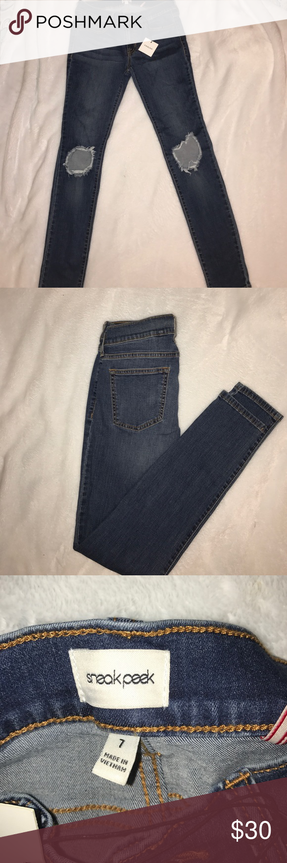 "Distressed skinny jeans Distressed med wash skinny jeans inseam 27"" Sneak peek Jeans Skinny"