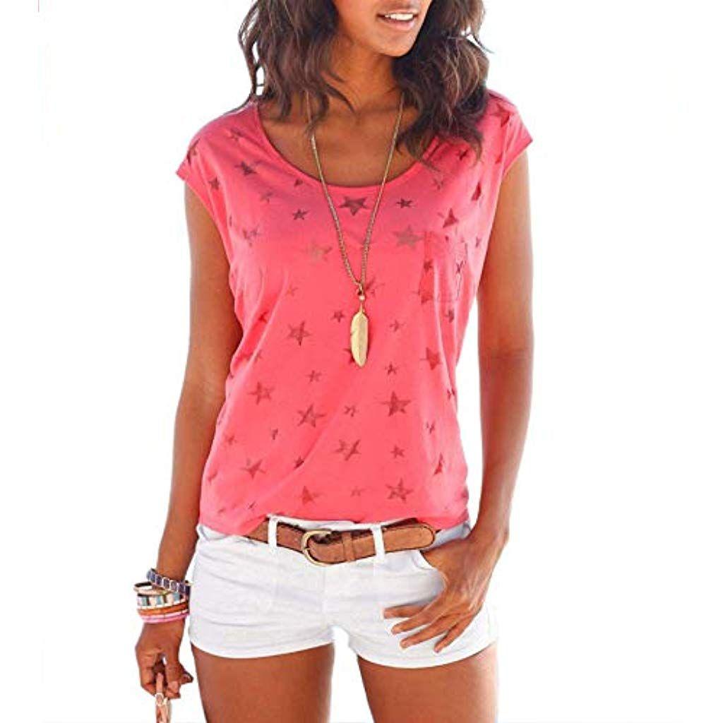 TrendiMax Damen T Shirt Tops Ärmellos Basic Sommer Shirts