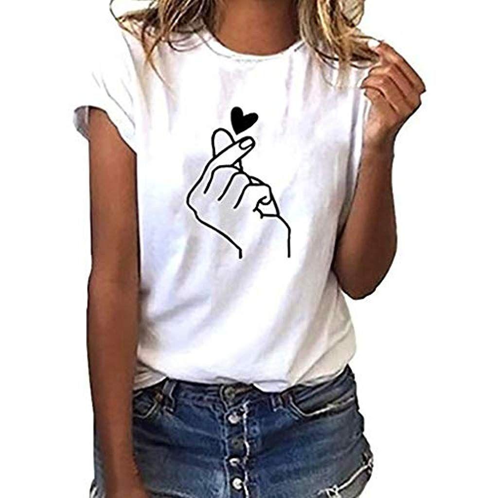 a12d446c48e66 Vetement Femme Pas Cher a la Mode Coton Tee T-Shirt à Manche Courte Femmes