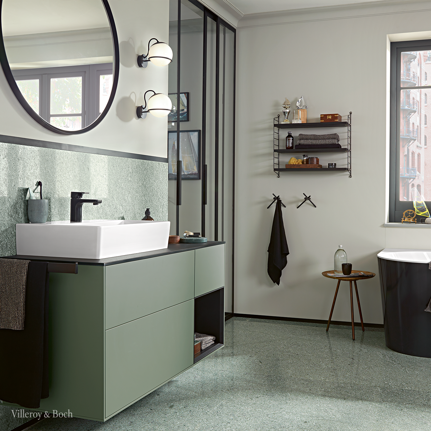 Give You Bathroom An Interior Design Update With An Elegant And Reduced Green And Olive Colour C In 2020 Badezimmer Grun Badezimmer Innenausstattung Badezimmer Design
