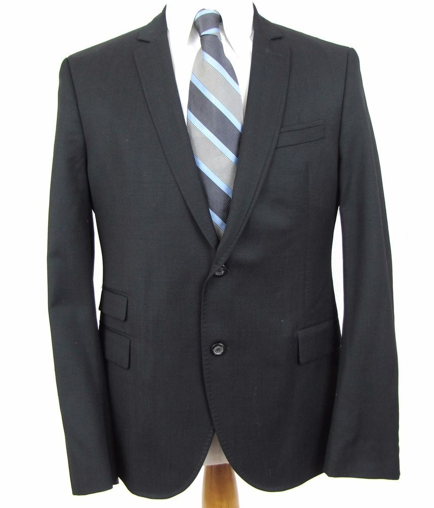 911c18f4 Zara Man Black Tag Blazer 40S Black 100% Wool Double Vented 2 Button Sport  Coat #ZARA #TwoButton