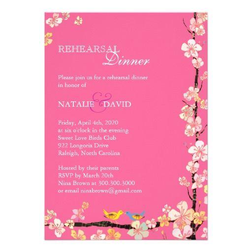 Love Birds Pink Wedding Rehearsal Dinner Invites