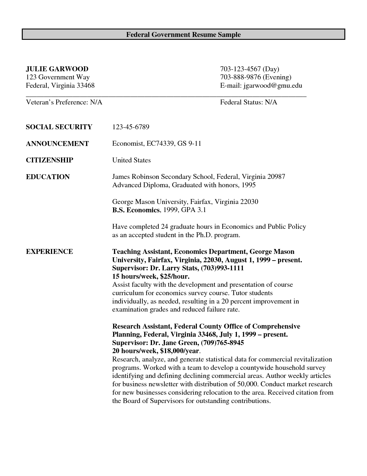 Federal Government Resume Example o