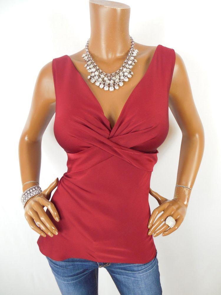 51e9d251e4b48 ANN TAYLOR Womens Top L Stretch SILK Dressy Blouse Sleeveless Shirt  Burgundy  AnnTaylor  Blouse  Casual