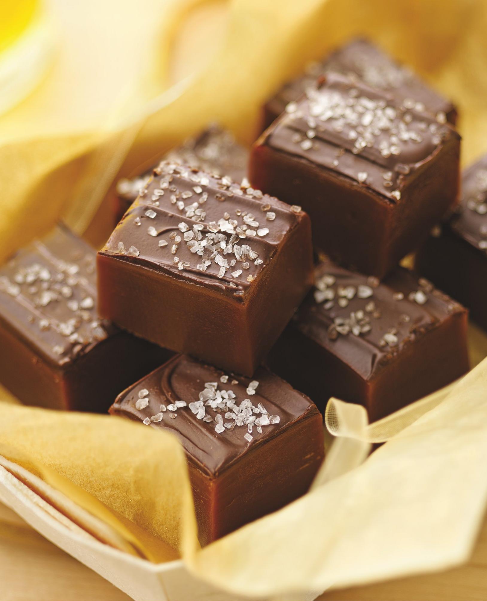 ChocolateTopped Sea Salt Caramels Recipe Sea salt