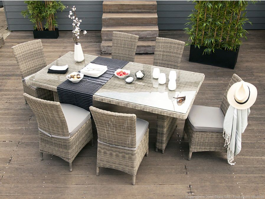 Salon de jardin haut PORTEFINO Ermanno G taupe table 6 assises ...