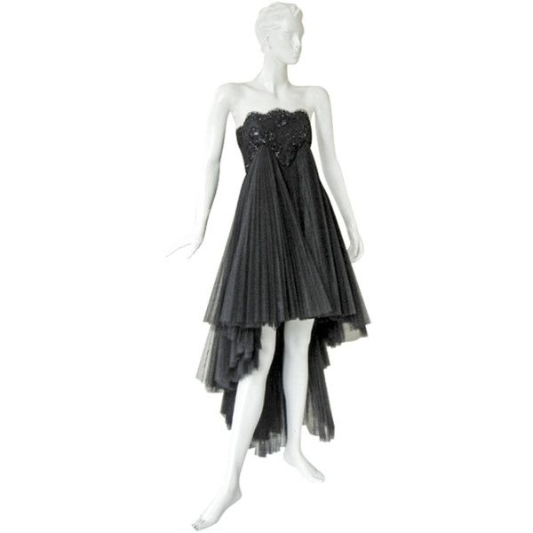 Preowned Early Christian Lacroix Haute Couture Lace Tulle Evening... ($4,800) ❤ liked on Polyvore featuring dresses, black, long lace dress, empire waist dress, lace high low dress, beaded dress and long tulle dress