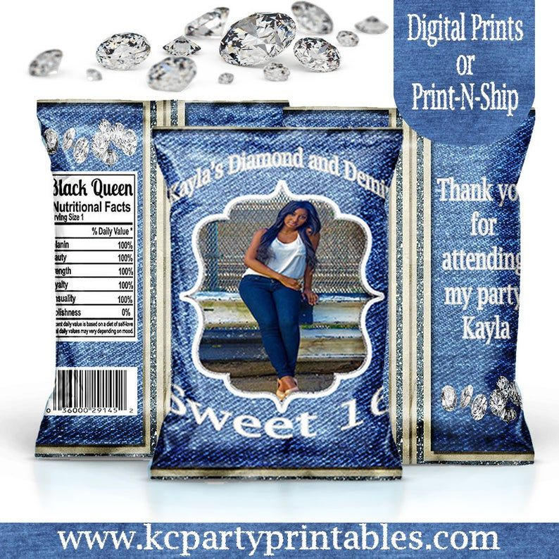 Party Favors Blue Jeans /& Bling Diamond Denim Printable Potato Chip Bags