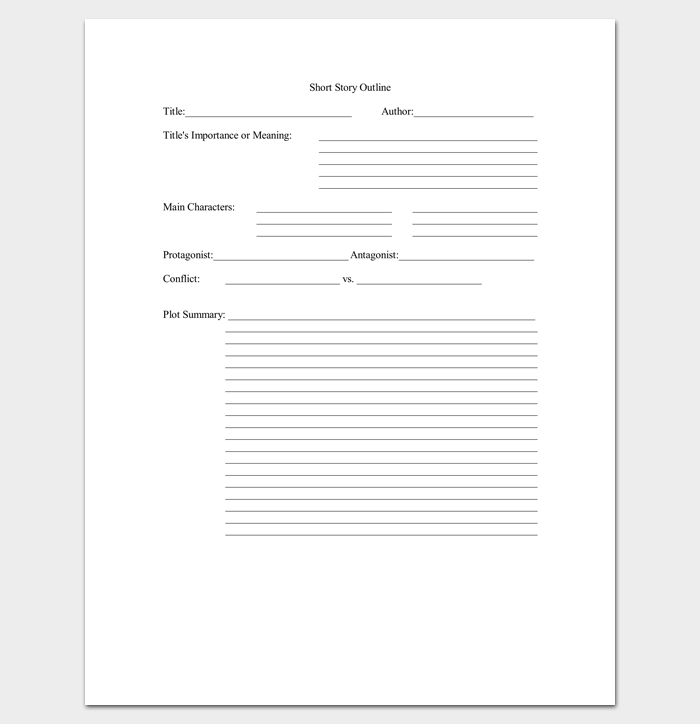 Blank Short Story Outline Template Pdf  Visual Novels