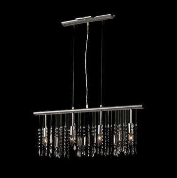 4 Light 30 Linear Chrome Chandelier Bar Pendant Crystal Fusion Design Contemporary