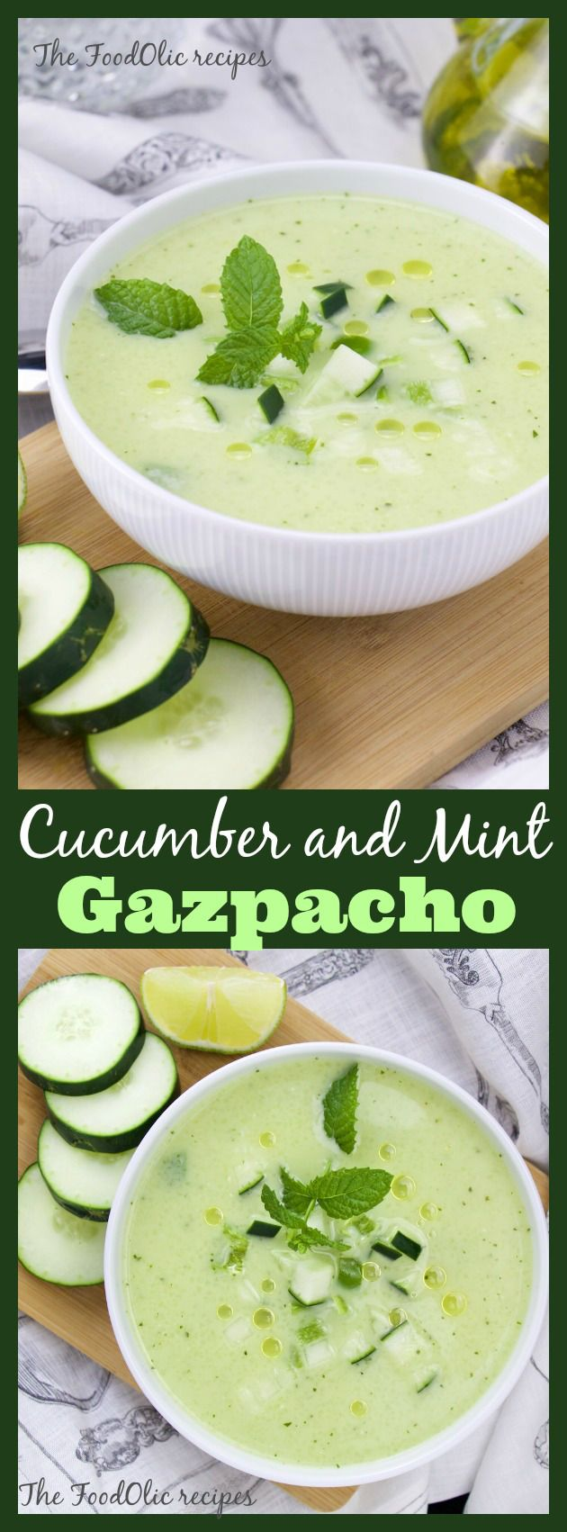 Cucumber-mint Gazpacho is the perfect refreshing soup on those hot summer days. A simple and tasty mix of cucumber, green pepper, garlic, onion and mint to cool you down. A great appetizer to any s…