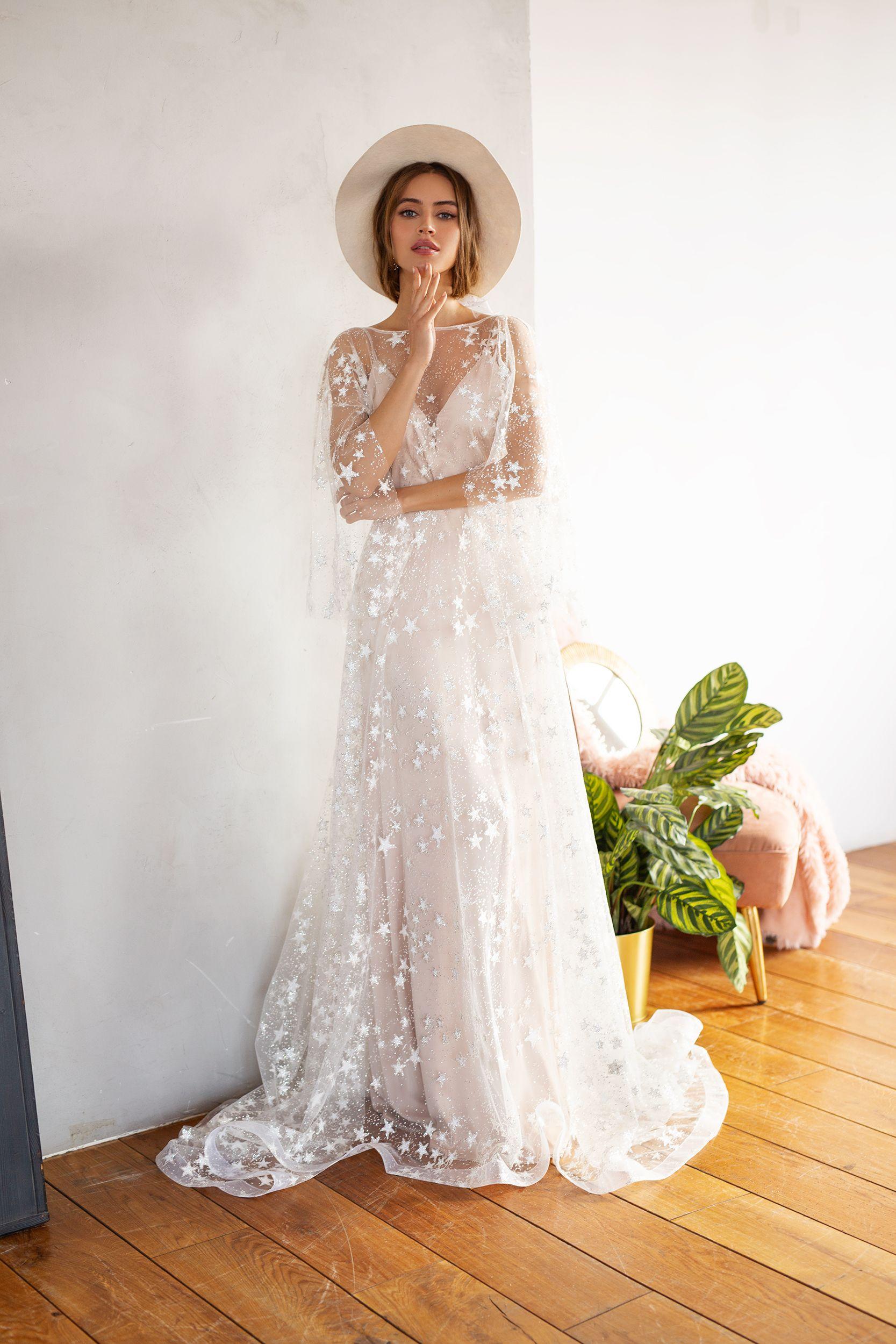 Bohemian Wedding Gown By Dream Dress Mesh Bridal Dress Summer Reception Gown Light Star Dres Bridal Dresses Bohemian Wedding Gown Fall Wedding Dress Sleeves [ 2500 x 1667 Pixel ]