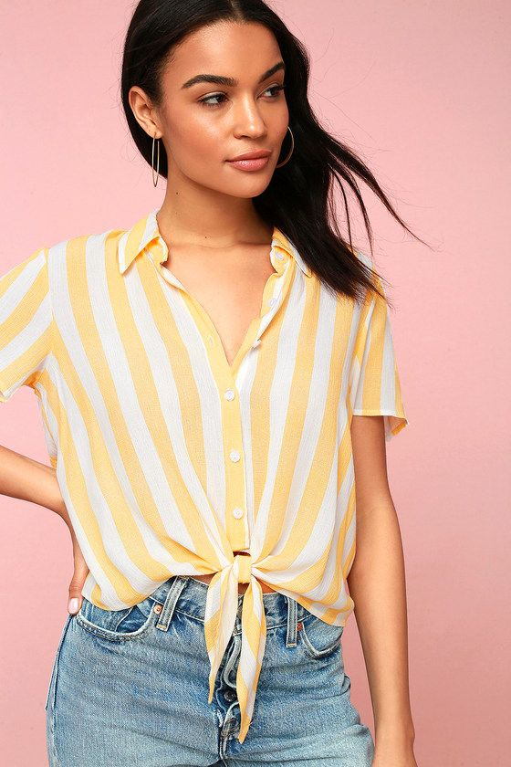 a209044b Take in the view from a terrace in the Portofino Coast Yellow Striped Button -Up Tie-Front Top! Easy, breezy woven blouse features a classic yellow and  white ...
