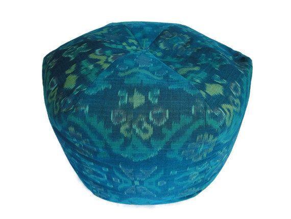 Ikat Pouf, Bean Bag, Floor Pillow, Turquoise | Bean bags, Floor ...