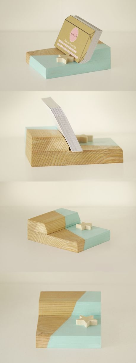 Mint Wooden Business Card Holder // Handmade Cute Desk Accessories ...