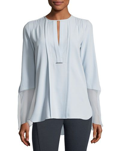 ELIE TAHARI OWEN LONG-SLEEVE PLEATED BLOUSE W/ SILK CHIFFON TRIM. #elietahari #cloth #