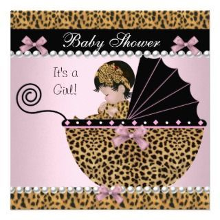 leopard print baby shower invitations baby shower cute baby girl pink leopard invitation