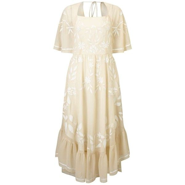 Miss Selfridge Nude Fluted Sleeve Dress (620.910 COP) ❤ liked on Polyvore featuring dresses, nude, floral dress, white boho dress, floral print dress, boho dresses and summer dresses