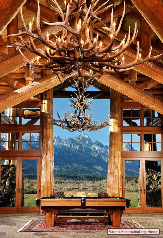 attractive log cabin chandeliers #3: Antler chandeliers! I love it! Way better than what my neighbor does with  all