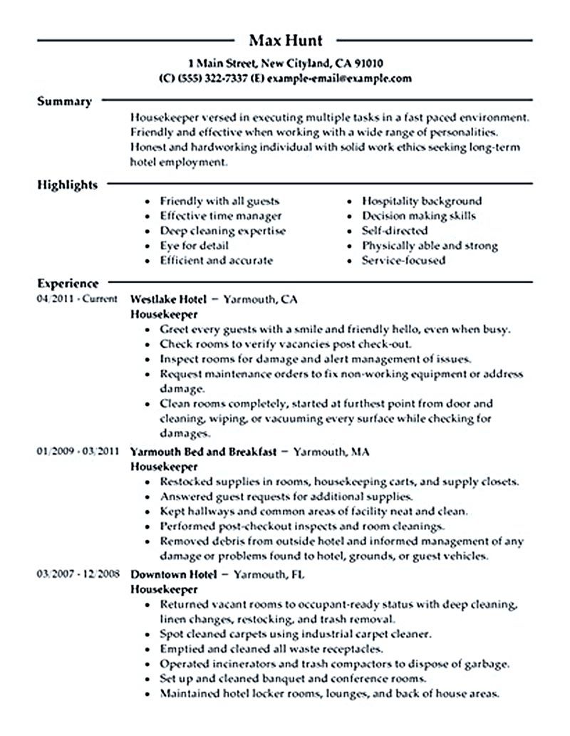 housekeeper resume should be able to contain and highlight important aspects that will help you