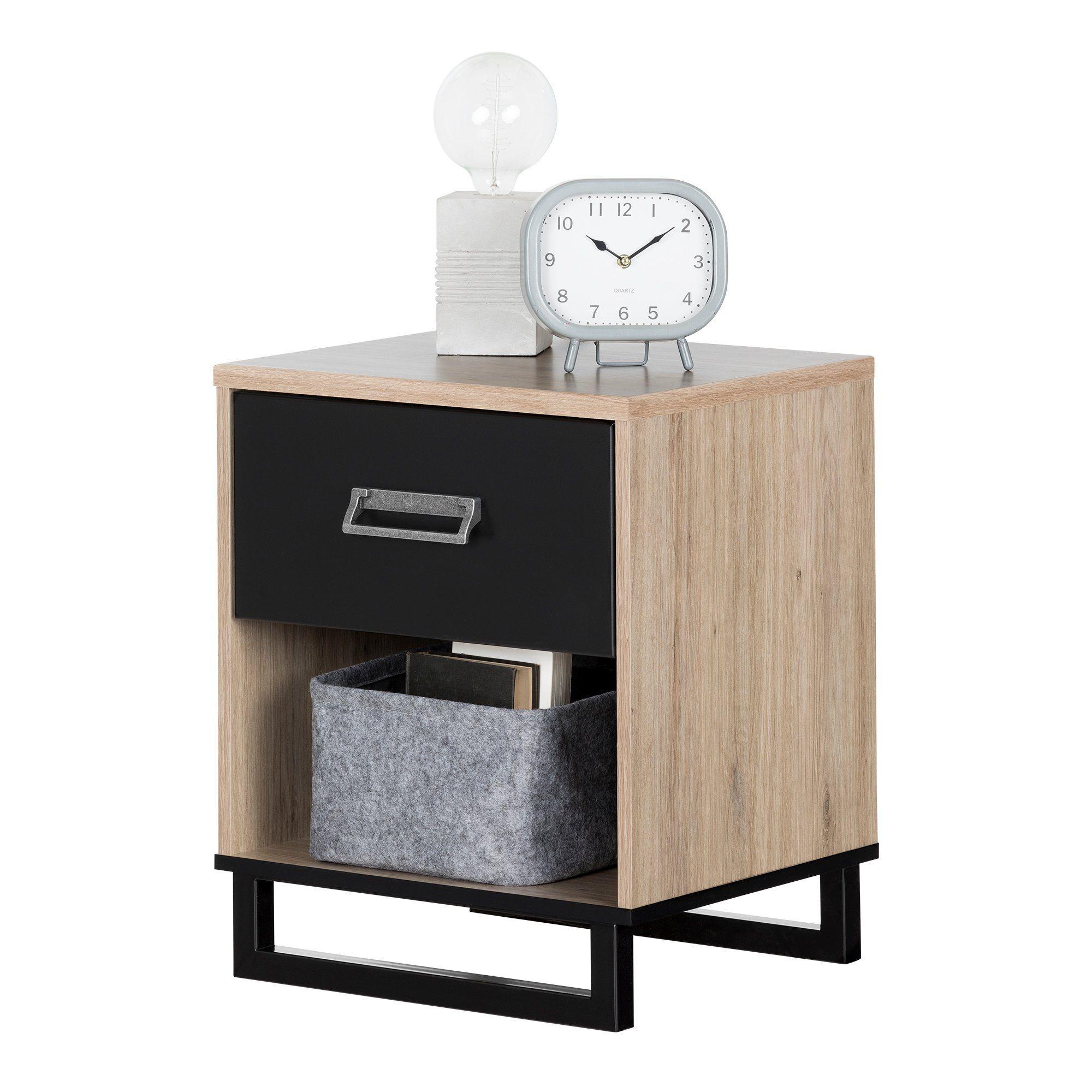 Best Industrial Modern Rustic Oak And Black Nightstand Induzy 640 x 480