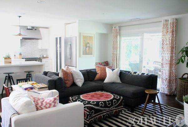 Living Rooms   Grey Couch Grey Sofa Dark Sofa Dark Couch Stripped Rug  Hipster Amber Lewis Part 17