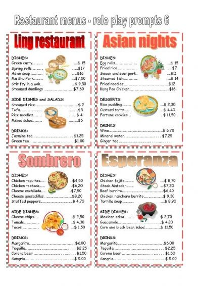 Role Plays Restaurant Role Play Ordering Food In A Restaurant 4034 – Free Printable Restaurant Menus