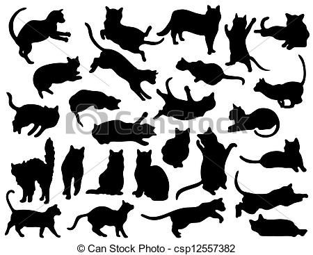 cat jumping drawing | Vector - 26 Cat Silhouettes - stock ...