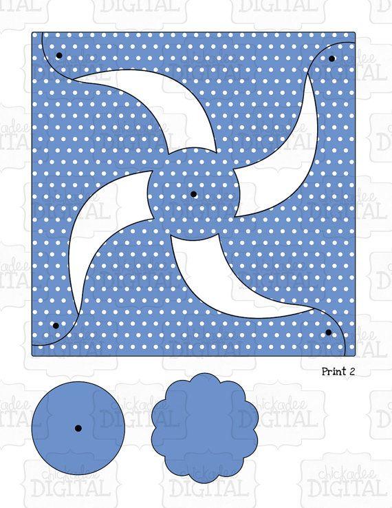 Printable Pinwheel Template DIY Pinwheel Paper by ChickadeeDigital ...