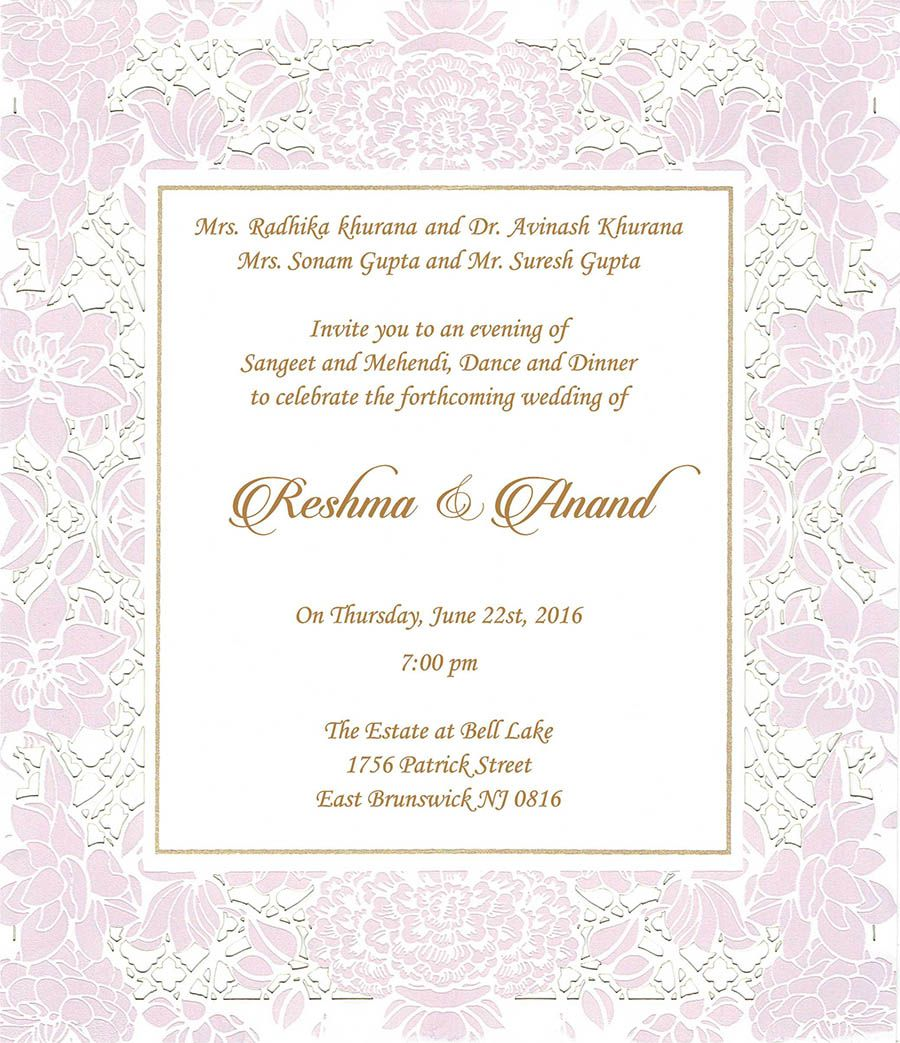 Wedding Invitation Wording For Sangeet Ceremony | Sangeet Ceremony ...