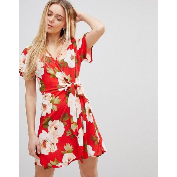 Womens Red Floral Based Print Dress Girls On Film c9EWuyzC