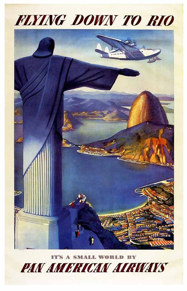 Tt4 Vintage Flying Down To Rio Travel Airlines Poster Re