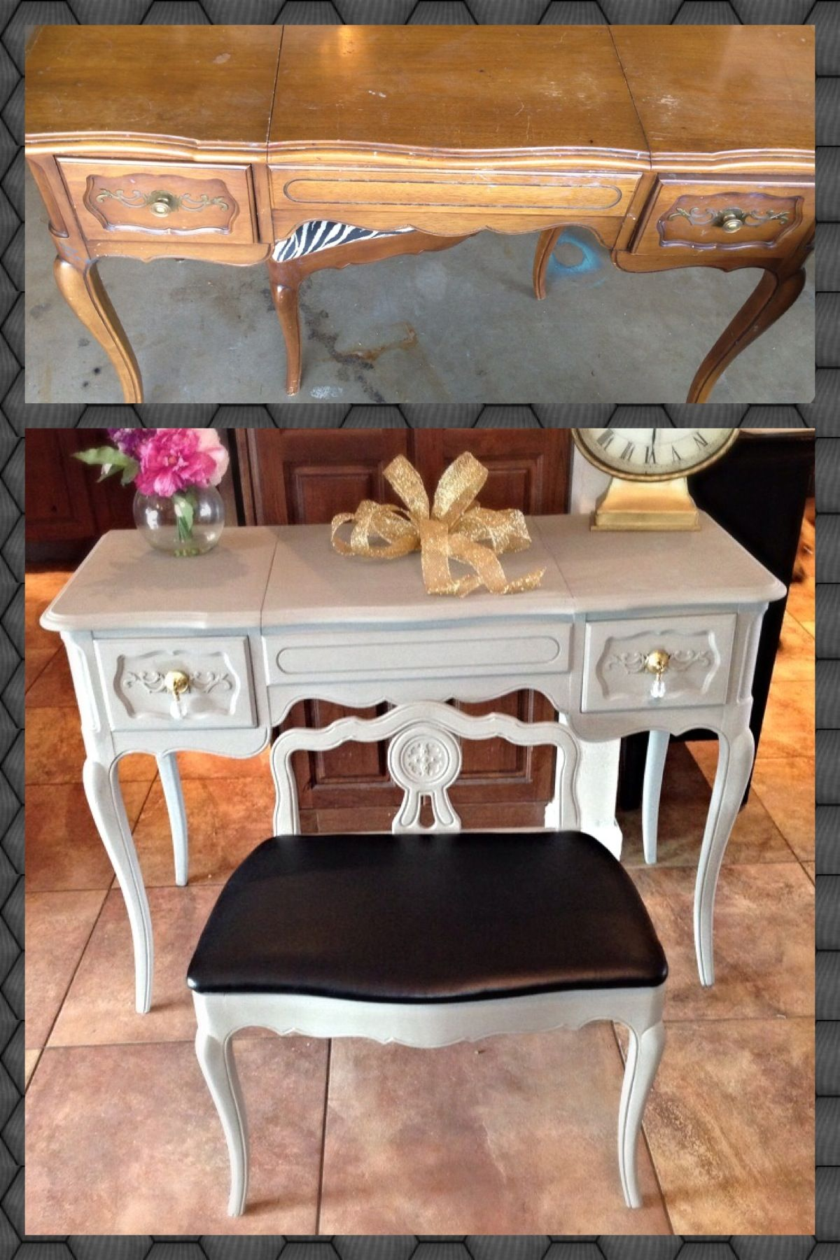 Vintage makeup vanity and stool in homemade chalk paint