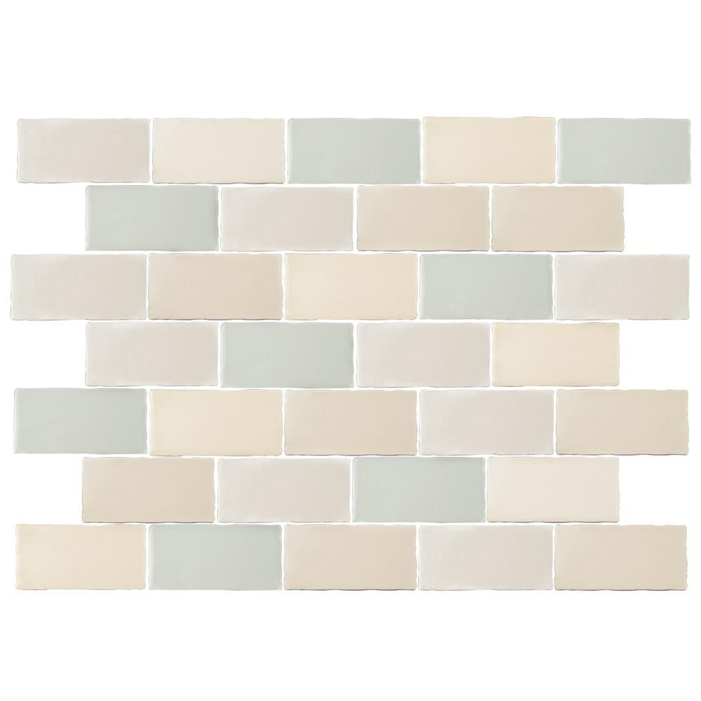 Merola Tile Antic Craquelle Mix 3 In X 6 In Ceramic