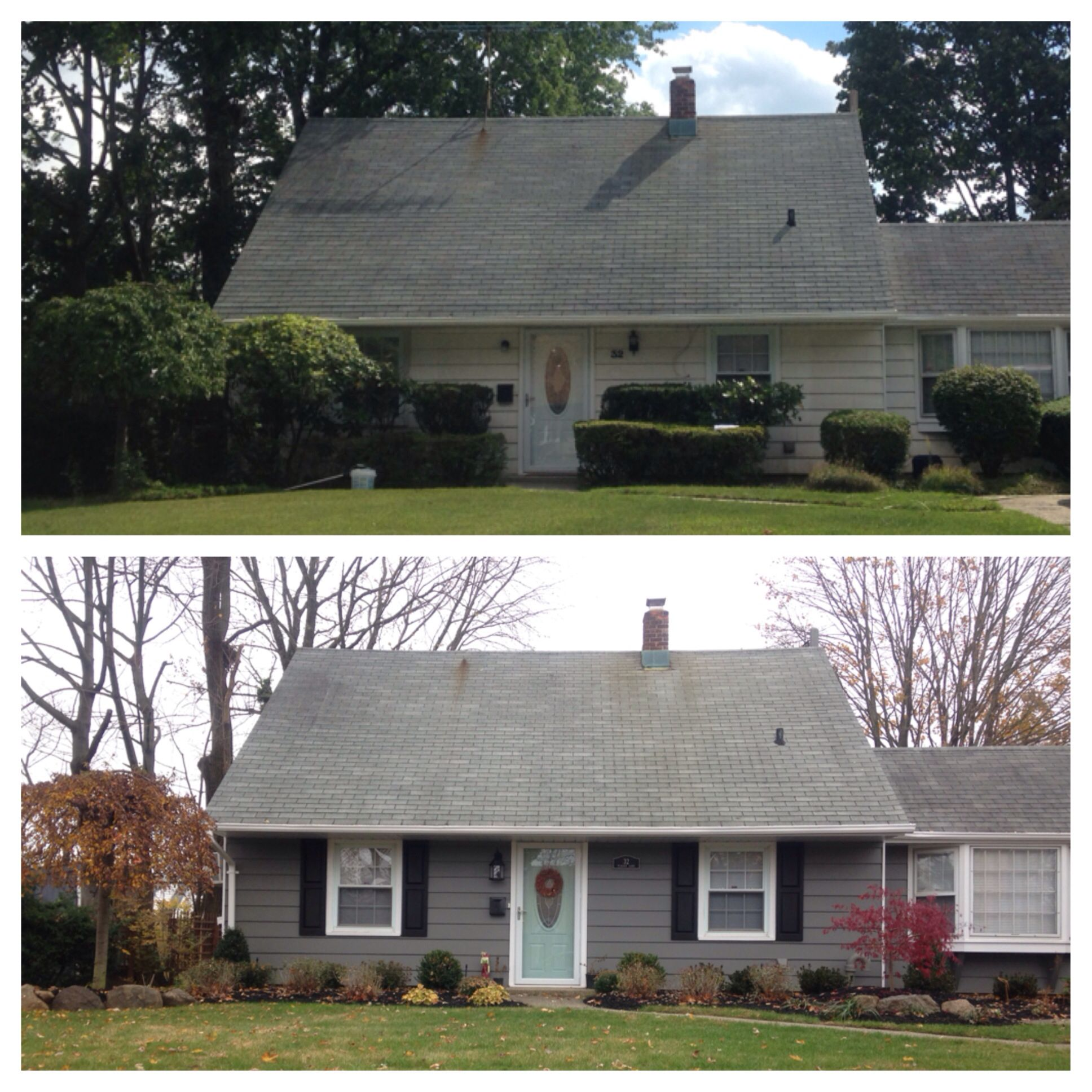 before and after siding benjamin moore amherst gray. Black Bedroom Furniture Sets. Home Design Ideas