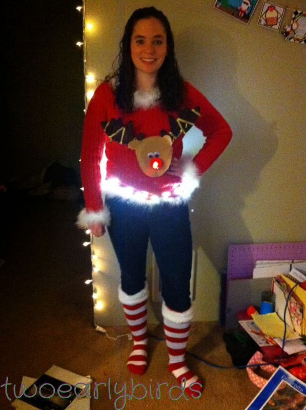Diy ugly christmas sweater with lights 2014 2015 fashion trends diy ugly christmas sweater with lights 2014 2015 fashion trends solutioingenieria Image collections