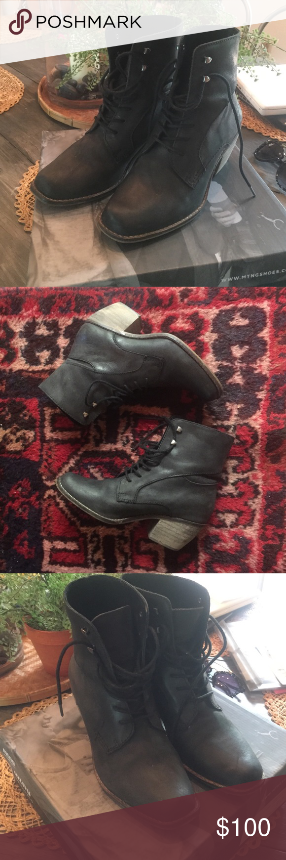 Lace up ankle boots  Only worn twice! Ordered these last year but sadly are a little too small when worn with socks...(fits more like a 6.5-7) comes with box! MTNG Shoes